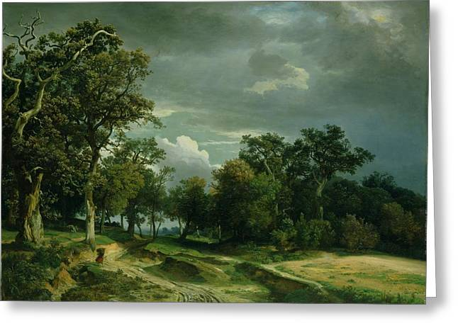 The Edge Greeting Cards - The Path on the Edge of the Wood Greeting Card by Johann Wilhelm Schirmer