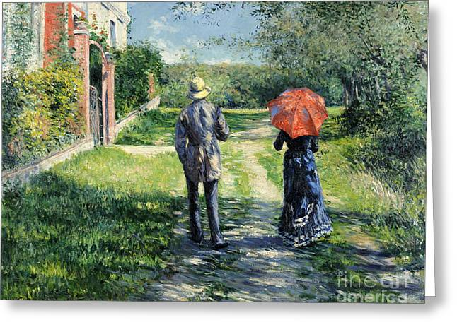 Rural Landscapes Greeting Cards - The Path Uphil Greeting Card by Gustave Caillebotte