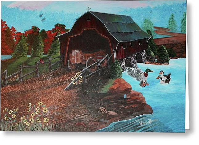 Wooden Wagons Paintings Greeting Cards - The Path Greeting Card by Vickie  Brooks