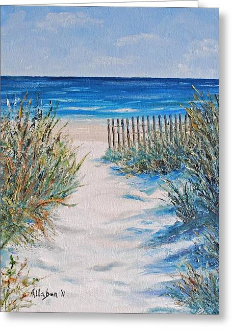 Sand Dunes Paintings Greeting Cards - The Pathway Greeting Card by Stanton Allaben