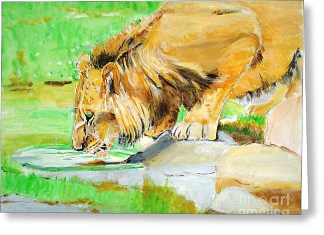 Wild Cats Greeting Cards - The Paws that Refreshes Greeting Card by Judy Kay