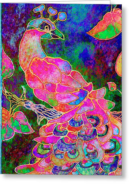 Digital Watercolors Greeting Cards - The Peacock Greeting Card by Robin Mead