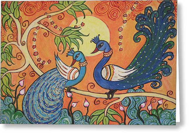 Kerala Murals Greeting Cards - The Peacocks Greeting Card by Deepa Padmanabhan