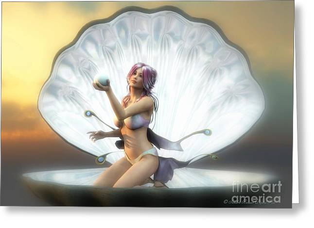 The Pearl Greeting Card by Sandra Bauser Digital Art