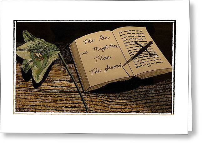 Social Comment Greeting Cards - The Pen is Mightier Greeting Card by Robert Boyette