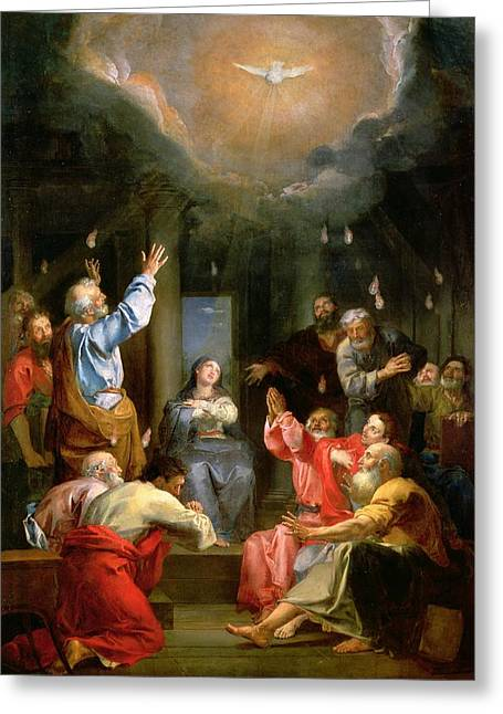 Virgin Mary Greeting Cards - The Pentecost Greeting Card by Louis Galloche