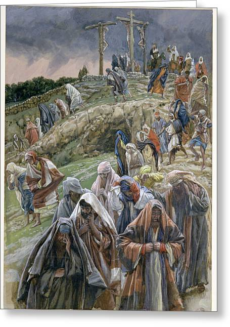 Calvary Greeting Cards - The people beholding the things that were done smote their breasts Greeting Card by Tissot