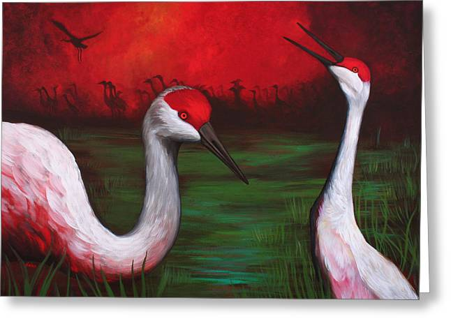 Cranes Greeting Cards - The People Greeting Card by Bonnie Kelso