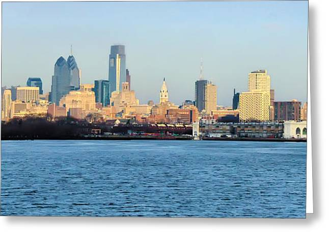 Philadelphia Digital Greeting Cards - The Philadelphia Waterfront from Camden Greeting Card by Bill Cannon