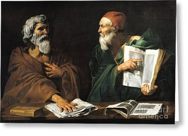 Lessons Greeting Cards - The Philosophers Greeting Card by Master of the Judgment of Solomon