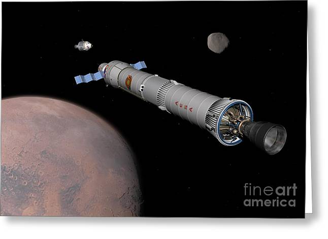 Phobos Greeting Cards - The Phobos Mission Rocket Prepares Greeting Card by Walter Myers