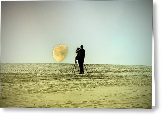 Moon Beach Greeting Cards - The Photographer Greeting Card by Bill Cannon