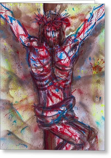 Statue Portrait Paintings Greeting Cards - The Physical Death of Jesus Greeting Card by Thomas Lentz