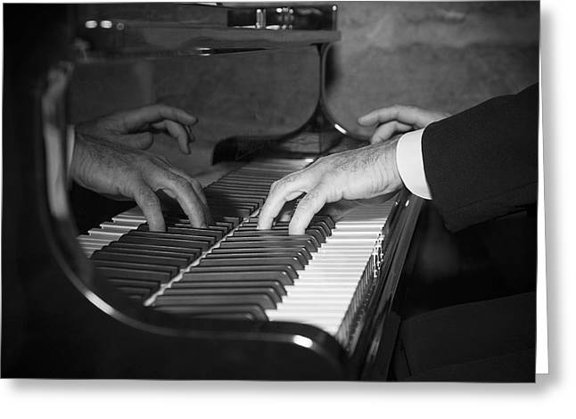 Jazz Pianist Greeting Cards - The Pianist Greeting Card by Paul Huchton