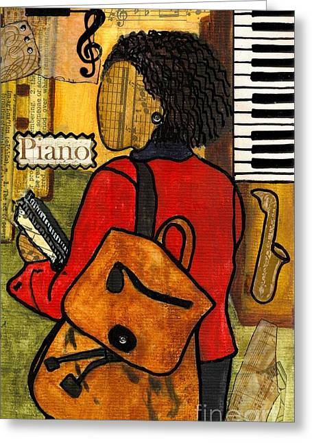 Survivor Art Greeting Cards - The Piano Lady Greeting Card by Angela L Walker