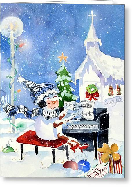 Christmas Art Greeting Cards - The Piano Player Greeting Card by Suzy Pal Powell