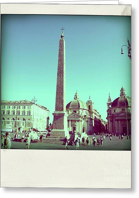 Obelisk Greeting Cards - The Piazza del Popolo. Rome Greeting Card by Bernard Jaubert