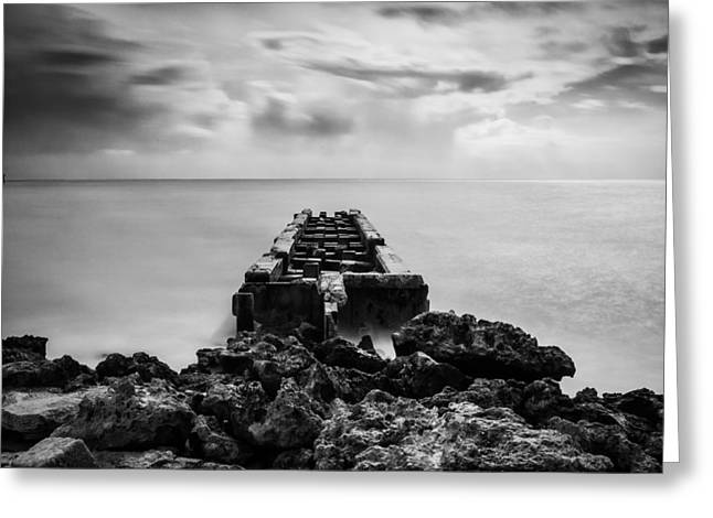 Blackandwhite Greeting Cards - The Pier Greeting Card by Adam Cameron