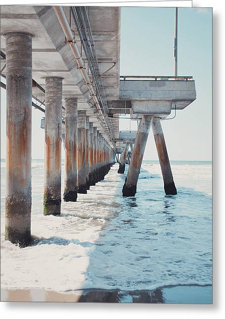 California Beach Art Greeting Cards - The Pier II Greeting Card by Nastasia Cook
