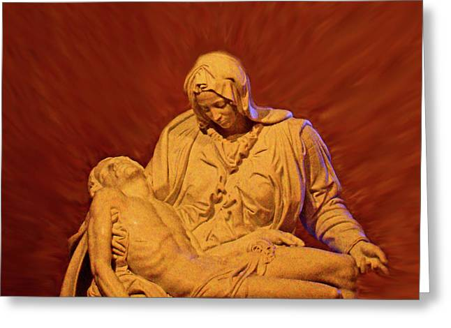 Michaelangelo Greeting Cards - The Pieta at Ste Anne De Beaupre Greeting Card by Al Bourassa
