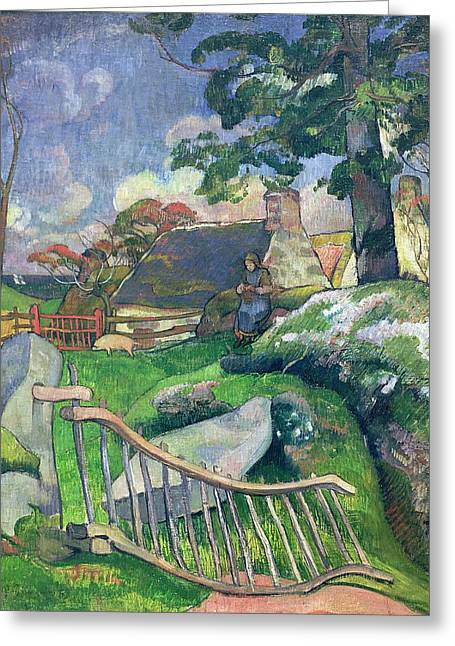 Thatch Paintings Greeting Cards - The Pig Keeper Greeting Card by Paul Gauguin