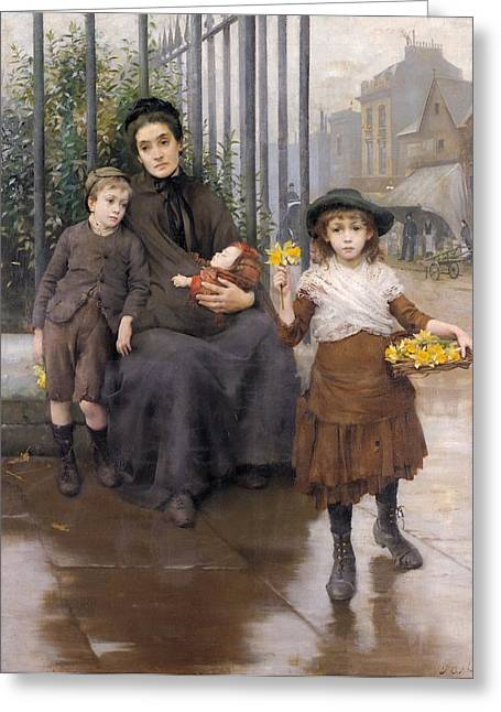 Weary Greeting Cards - The Pinch of Poverty Greeting Card by Thomas Benjamin Kennington