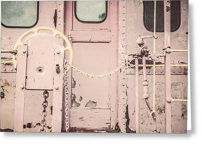 Caboose Greeting Cards - The Pink Caboose Greeting Card by Lisa Russo