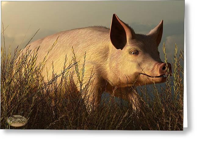 The Pink Pig Greeting Card by Daniel Eskridge