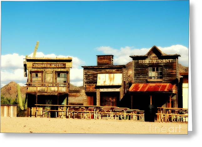 The Western Hotel Greeting Cards - The Pioneer Hotel Old Tuscon Arizona Greeting Card by Susanne Van Hulst