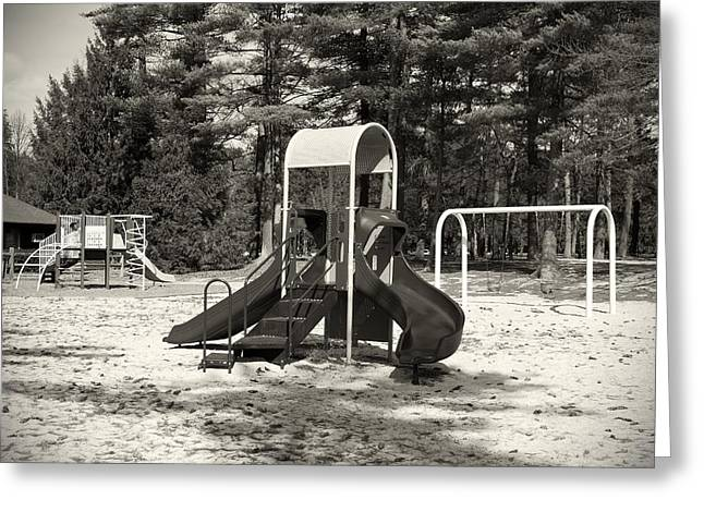 Slide Prints Greeting Cards - The Playground I - Ocean County Park Greeting Card by Angie Tirado