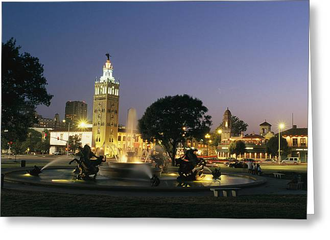 Suburban Office Greeting Cards - The Plaza In Kansas City, Mo, At Night Greeting Card by Michael S. Lewis