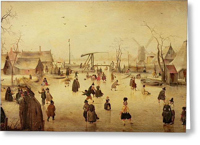 Skaters Greeting Cards - The Pleasures of Winter Greeting Card by Hendrik Avercamp