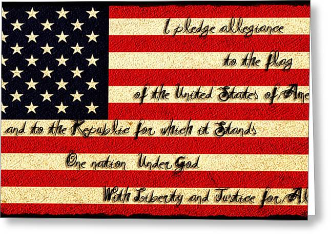 The Pledge Of Allegiance Greeting Card by Bill Cannon