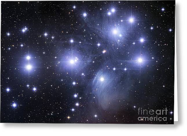 Illuminated Greeting Cards - The Pleiades Greeting Card by Robert Gendler