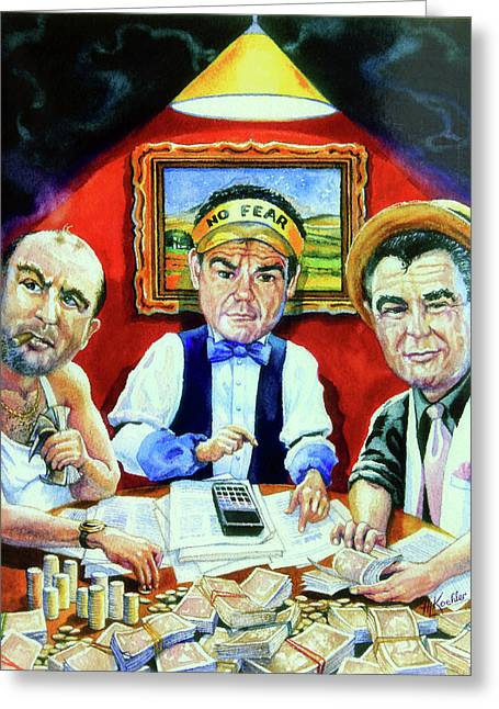 The Boss Paintings Greeting Cards - The Poker Game Greeting Card by Hanne Lore Koehler