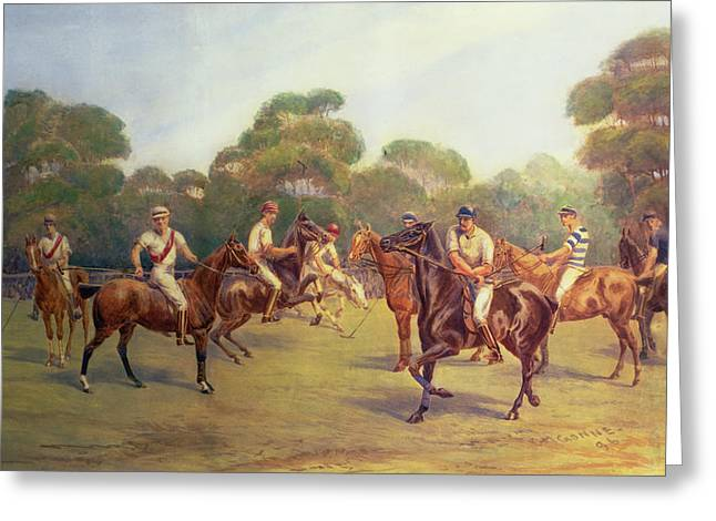 Pastimes Greeting Cards - The Polo Match Greeting Card by C M  Gonne