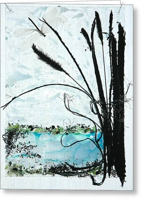 Blue Green Water Reliefs Greeting Cards - The Pond Greeting Card by Mariann Taubensee