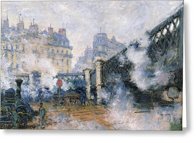 Train On Bridge Greeting Cards - The Pont de lEurope Gare Saint Lazare Greeting Card by Claude Monet