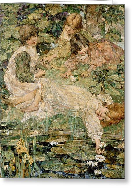 Pond.  Greeting Cards - The Pool Greeting Card by Edward Atkinson Hornel