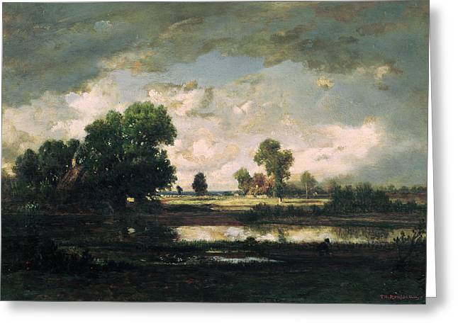 67 Greeting Cards - The Pool with a Stormy Sky Greeting Card by Pierre Etienne Theodore Rousseau