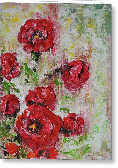 Green Abstract Reliefs Greeting Cards - The Poppies Greeting Card by Tatiana Ilieva