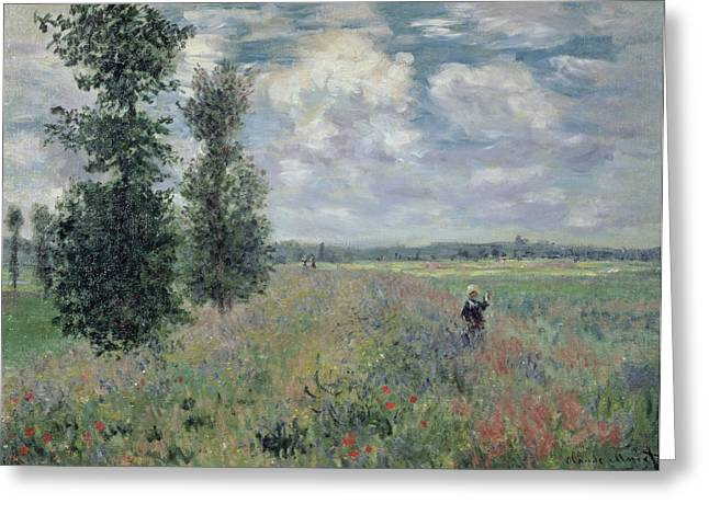Poppies Field Paintings Greeting Cards - The Poppy Field Greeting Card by Claude Monet
