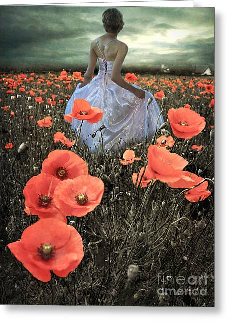 Candle Lit Greeting Cards - The Poppy Field  Greeting Card by Eugene James