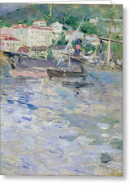 Riviera Greeting Cards - The Port at Nice Greeting Card by Berthe Morisot
