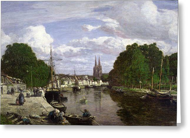 The Port at Quimper Greeting Card by Eugene Louis Boudin
