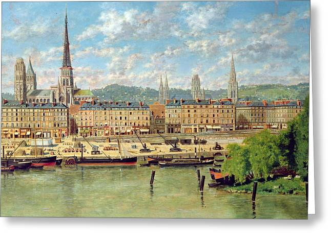 Steam Ship Greeting Cards - The Port at Rouen Greeting Card by Torello Ancillotti
