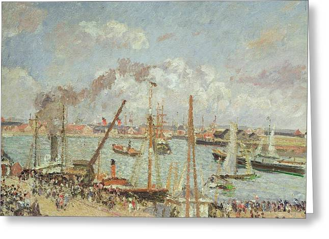Docked Boats Greeting Cards - The Port of Le Havre in the Afternoon Sun Greeting Card by Camille Pissarro