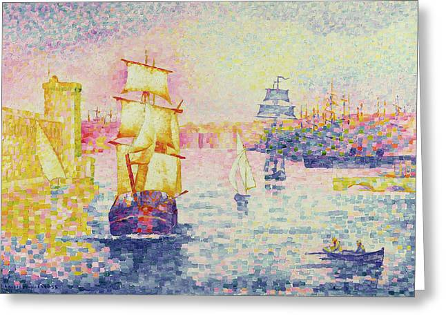 Boats At Dock Greeting Cards - The Port of Marseilles Greeting Card by Henri-Edmond Cross