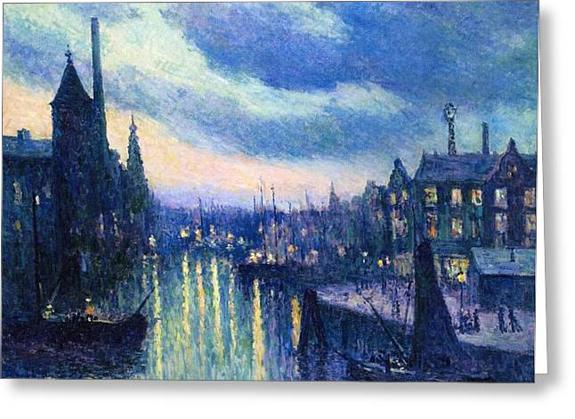 Port Town Greeting Cards - The Port of Rotterdam at Night Greeting Card by Maximilien Luce