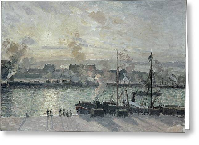Masts Greeting Cards - The Port Of Rouen Greeting Card by Camille Pissarro